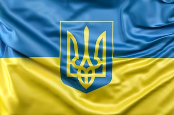 Flagge der Ukraine mit Wappen
