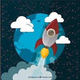 Fliegende Rakete im Weltraum