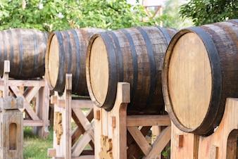 Foto von hölzernen Weinfässern