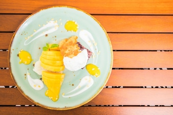 Frisches Obst Dessert Zucker Reis