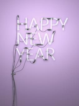 Frohes neues Jahr Neonlicht 3D