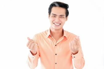 Fröhlicher Mann reibt die Finger und fragt Geld