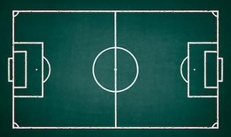 Fußballplatz auf einer grünen Tafel gezeichnet