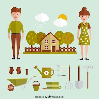 Gartengeräte und Haus