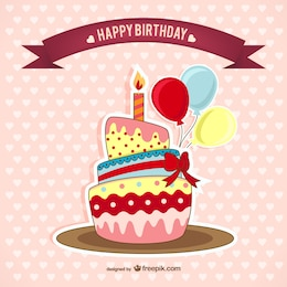 Geburtstagskarte mit Kuchen