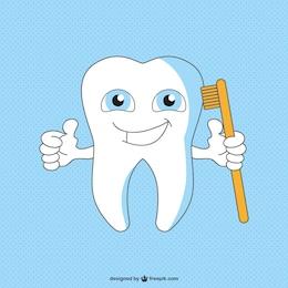 Gesund glücklich Zahn-Cartoon