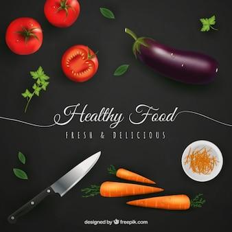Gesunde Lebensmittel Hintergrund im realistischen Stil