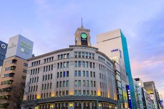 Ginza-Seiko-Glockenturm, Ginza-Bezirk in Tokyo, Japan.
