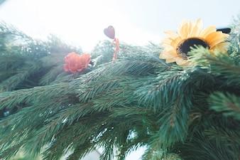 Girlande aus Tannenbaum und Sonnenblumen