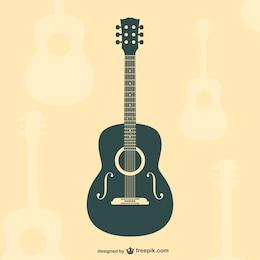 Gitarre flache Silhouette Vektor