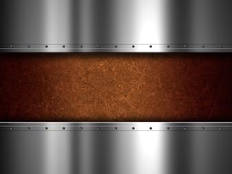 Glänzende Metallplatte und Grunge-Hintergrund
