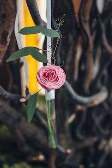 Glasröhren mit rosa Blüten hängen an der Wand