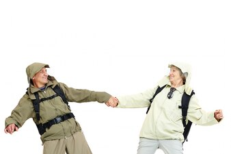Glückliches Paar Backpacking