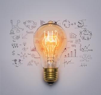 Glühbirne mit Zeichnung Graph