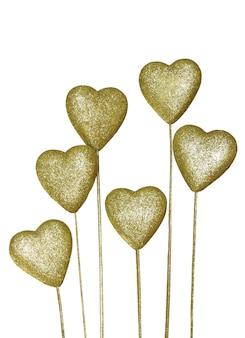 Golden Dekoration Herz isoliert auf weißem Hintergrund
