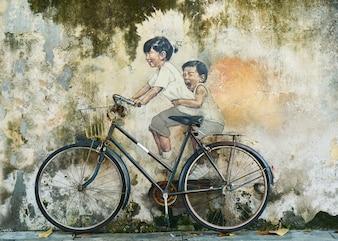 Graffiti eines Kinder auf einem Fahrrad