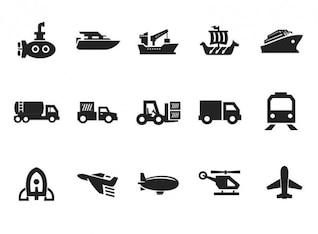Grau Transport Icon Set Vektor
