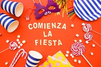 Großer dekorativer Hintergrund mit Party-Elementen