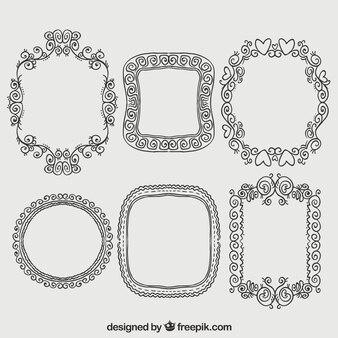 Hand gezeichnet Frames im ornamentalen Stil