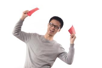 Hand glücklich Mandarine neuen Wohlstand