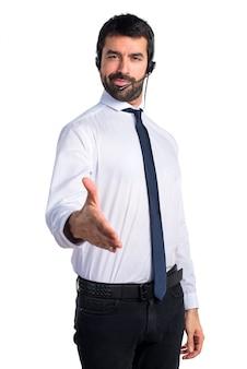 Handsome Telemarketer Mann macht einen Deal