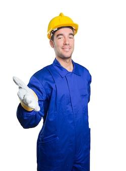 Happy Workman begrüßen auf weißem Hintergrund