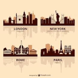 Hauptstädten der Welt Skyline Vektor