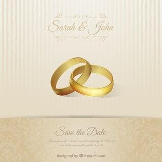 Hochzeitseinladungskarte mit Ringen