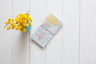 Holz Hintergrund mit gelben Blüten und Weltkarte
