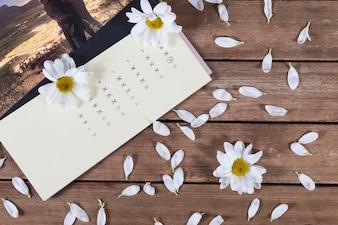 Hölzerner Hintergrund mit Kalender und Blumen