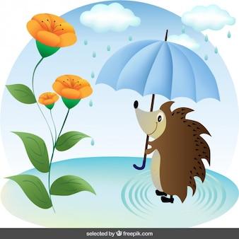 Igel mit Regenschirm