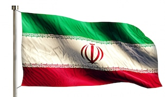 Iran Nationalflagge isoliert 3D weißen Hintergrund