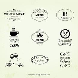 Jahrgangswein, Restaurant und Kaffee-Etiketten