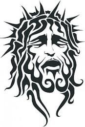 Jesus leidendes Gesicht mit scharfen Krone