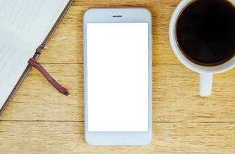 Kaffee-Notizbuch-Telefon