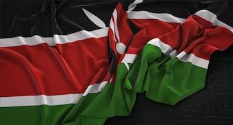 Kenia-Flagge, die auf dunklem Hintergrund geknittert wurde 3D Render