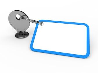 Key mit Schlüsselanhänger Text zu schreiben