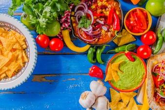 Komplette mexikanische Lebensmittelkomposition