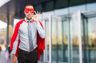 Konzept eines selbstbewussten Super-Geschäftsmannes