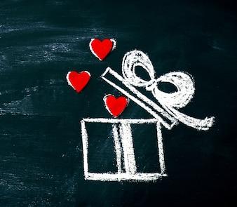 Kreative Liebe oder Valentinstag-Konzept mit Geschenk-Box und Herz