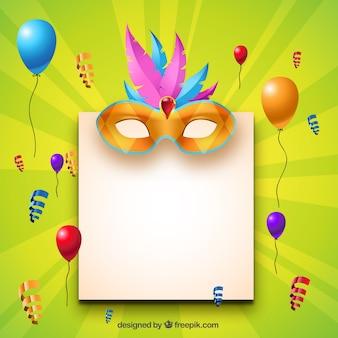 Leere Papier mit Karnevalsdekoration