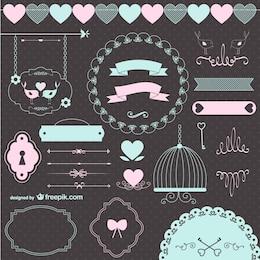 Liebe Hochzeit Retro grafische Elemente