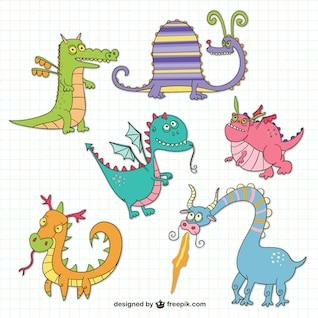 Lustige Drachen Zeichnungen