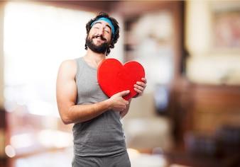 Mann mit einem Herz
