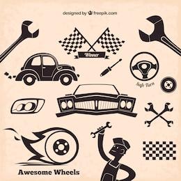 Mechanic Symbole im Retro-Stil