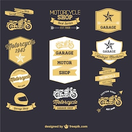 Motorrad-Retro-Etiketten gesetzt