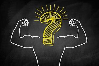 Muskulösen Körper mit einem Fragezeichen