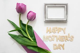 Muttertagsschriftzug, Rahmen und Rosen