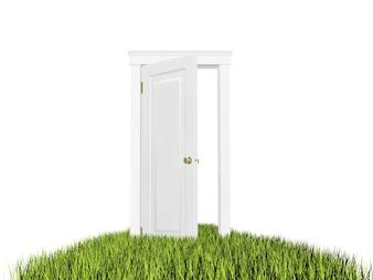 Offene Tür auf dem Rasen