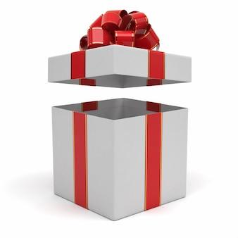 Öffnen Sie Geschenkbox mit rotem und goldenem Bogen